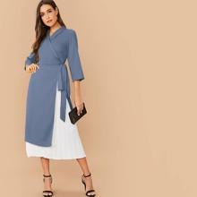 Graublau Gefaltet Colorblocks Elegant Kleider