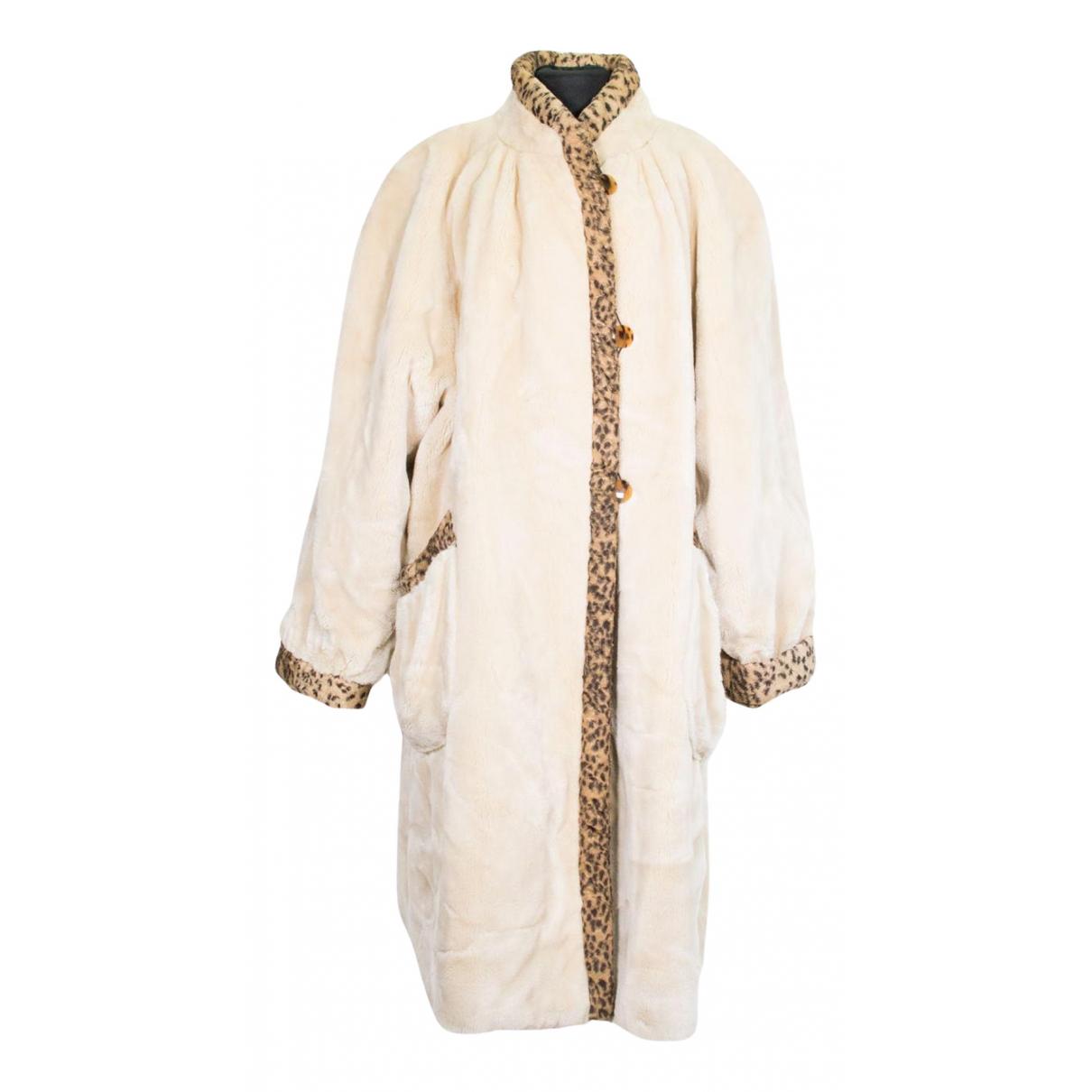 Fendi - Manteau   pour femme en fourrure synthetique - beige