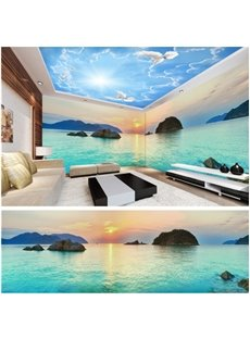 Blue Sky and Lake with Stone Pattern 3D Waterproof Ceiling and Wall Murals
