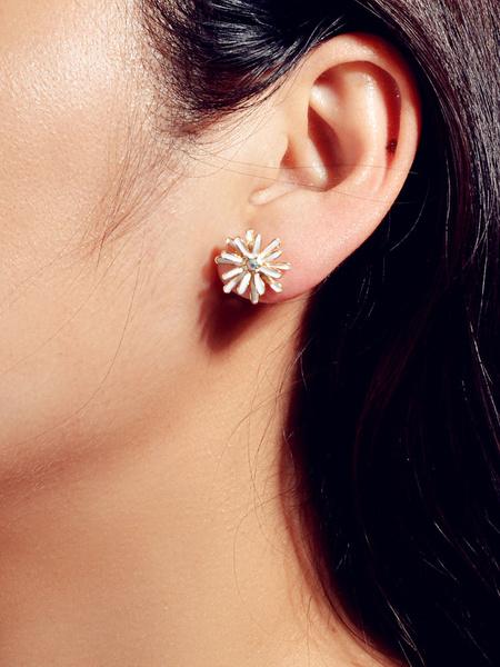 Milanoo Daisy Flower Earrings White Women Jewelry
