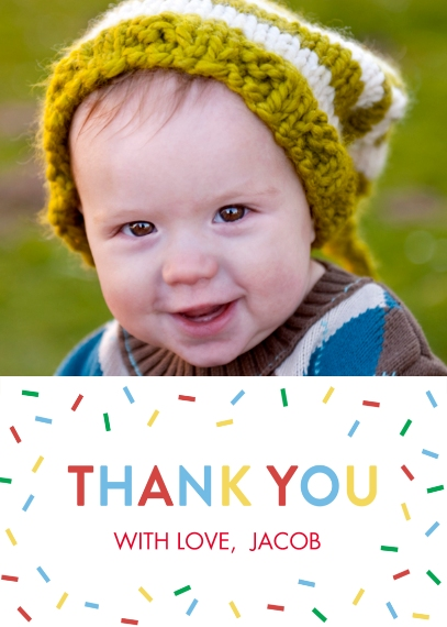 Kids Thank You Cards 5x7 Folded Cards, Standard Cardstock 85lb, Card & Stationery -Thank You One Photo Sprinkles