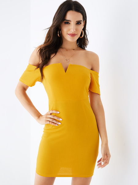YOINS Yellow Off The Shoulder Half Sleeves Dress