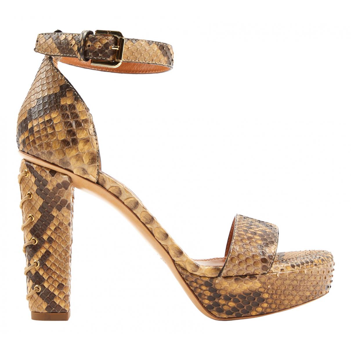 Ralph Lauren - Sandales   pour femme en serpent d'eau - marron