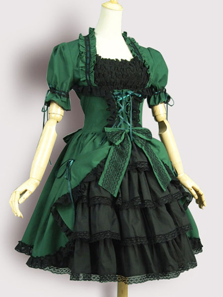 Milanoo Gothic Lolita OP One Piece Dress Square Neck Short Sleeve Lace Up Ruffles Green Lolita Dress