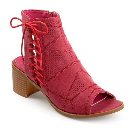 Journee Collection Womens Elexy Booties Block Heel, 11 Medium, Red