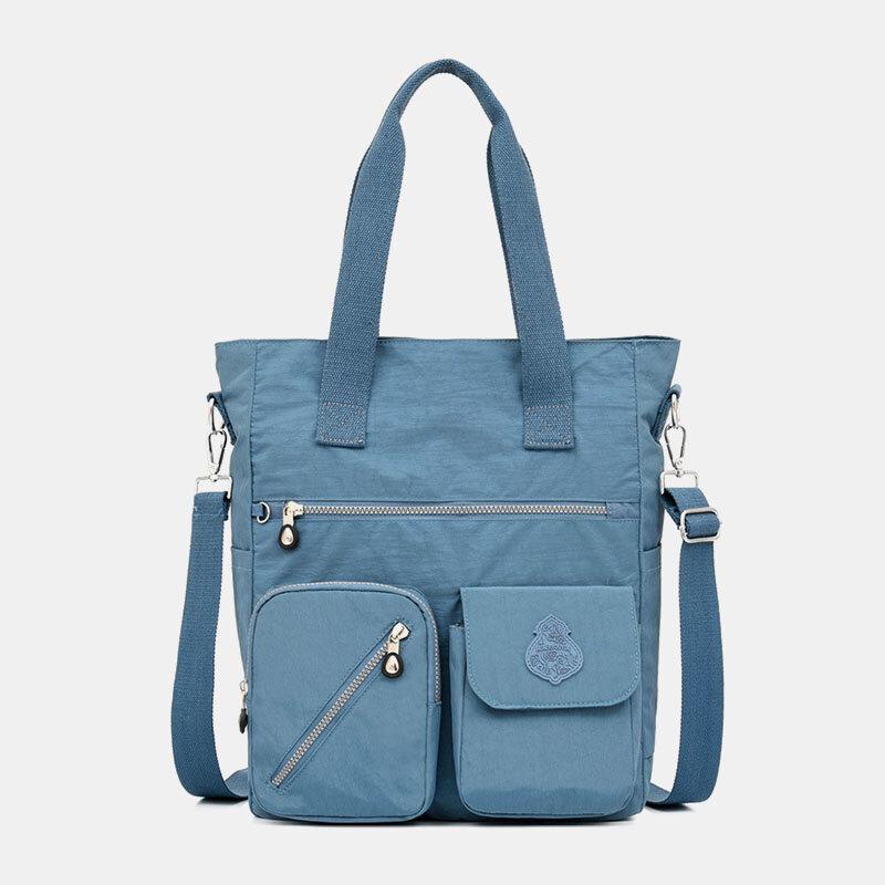 Women Solid Nylon Waterproof Large Capacity Crossbody Bag