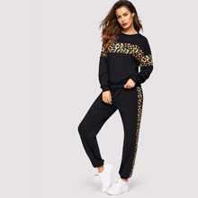 Leopard Panel Pullover and Joggers Set