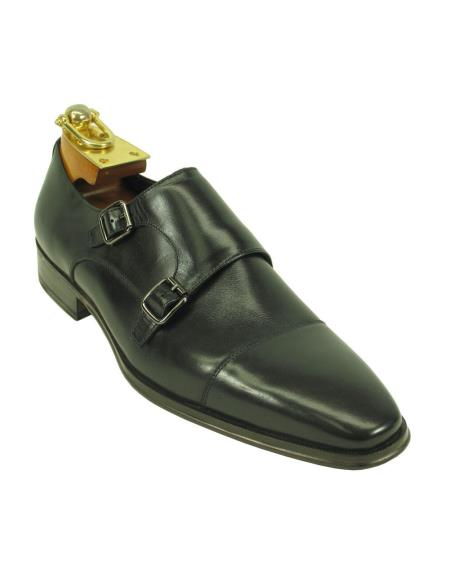 Men's Leather Double Buckle Style Black Fashionable Ombre Shoes