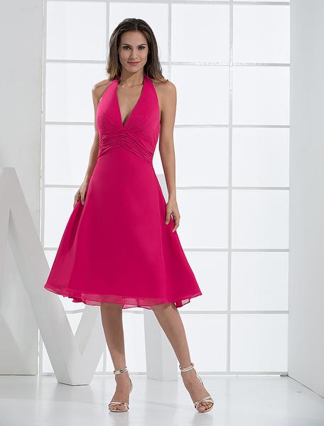 Milanoo Vestido de coctel con escote en V de linea A Vestidos de boda para huespedes