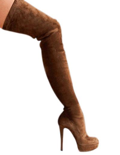 Milanoo Botas altas mujer Marron Cuero con apariencia suave de tacon de stiletto de puntera de forma de almendra 14cm Primavera Otoño 4cm para fiesta
