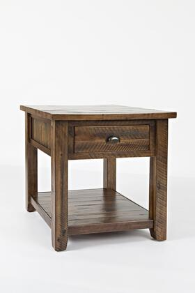 BM183951 Wooden End Table With Drawer and Bottom Shelf   Oak