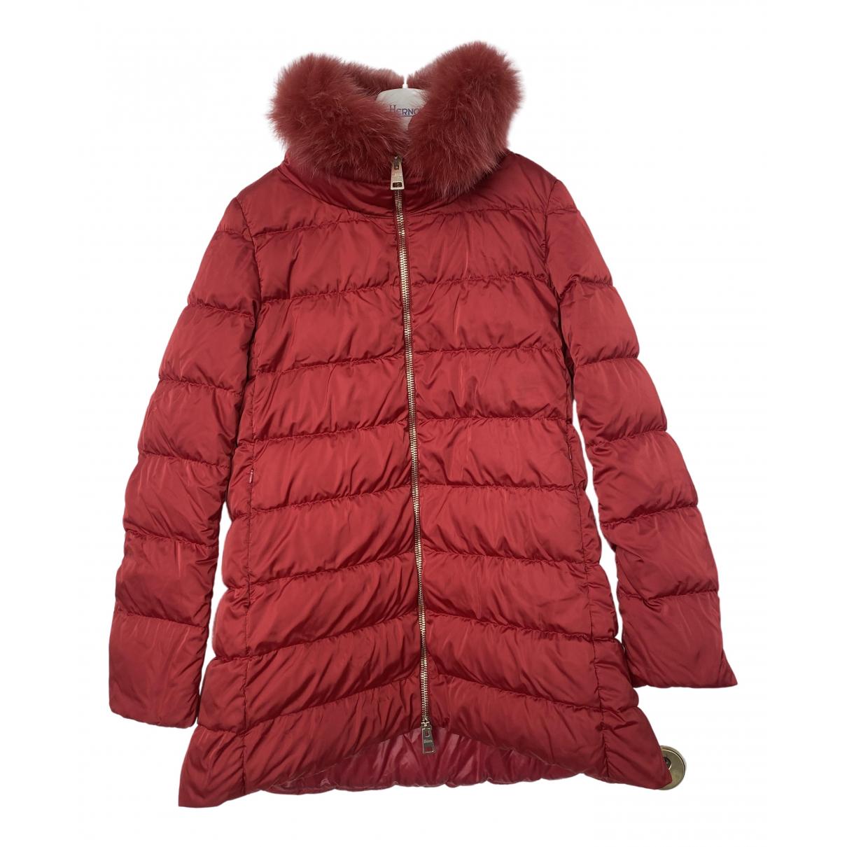 Herno - Manteau   pour femme en fourrure - rouge