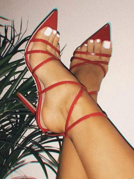 Milanoo Sandalias Rojo de Tacon Alto con Punta Abierta 2020 con Correa Sandalias Zapatos para Mujer