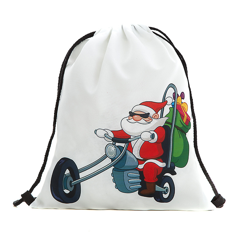 Drawstring Bag Travel Santa Claus Pattern Sports Portable Backpack