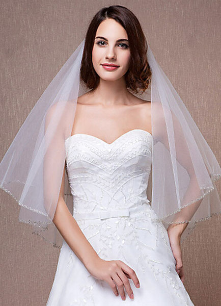 Milanoo Velos de boda de tul velo de novia borde cortado en dos niveles codo Oval con Comb(150*150cm)