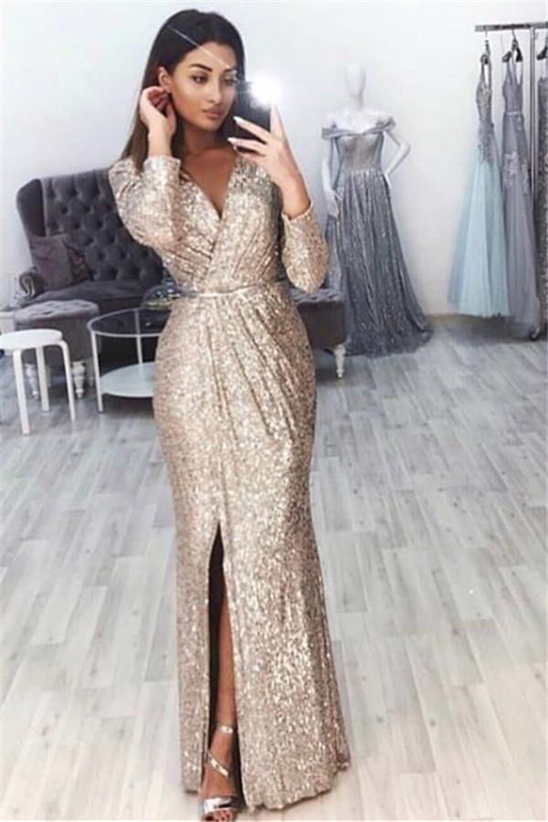 Sexy V-Neck Long Sleeves Front Slipt Mermaid Prom Dress BC0815