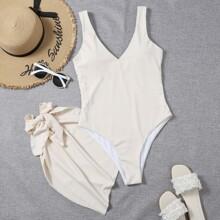 2 Packe gerippter einteiliger Badeanzug mit Strandrock