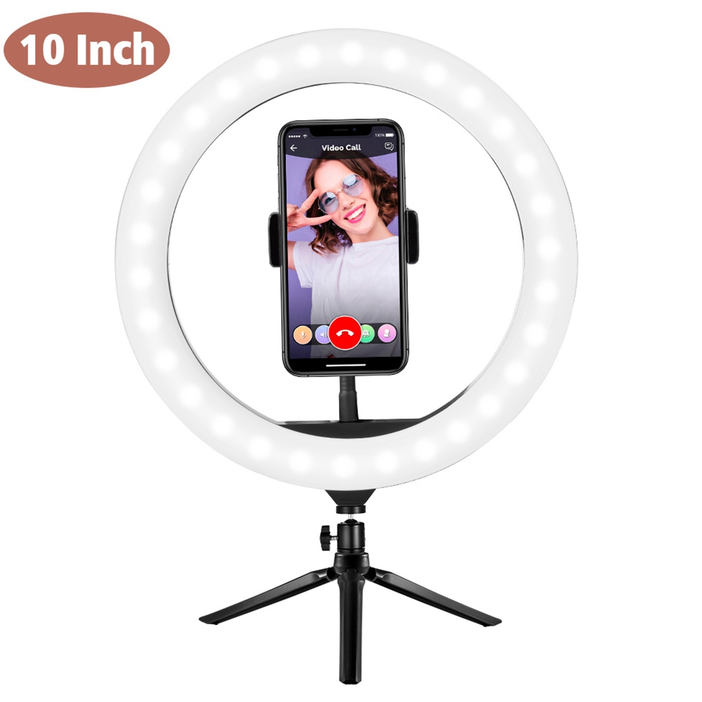 10 Inch Dimmable LED Selfie Video Ring Light with Tripod Stand Phone Holder for Youtube Tik Tok Live Streaming Makeup Lamp