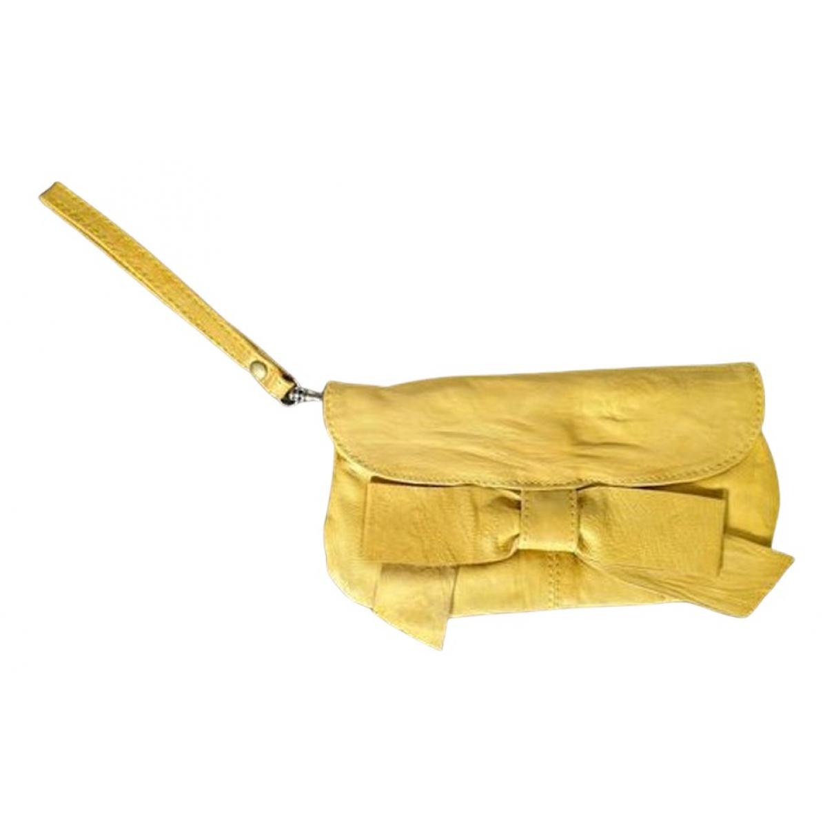 Topshop - Pochette   pour femme en cuir - jaune