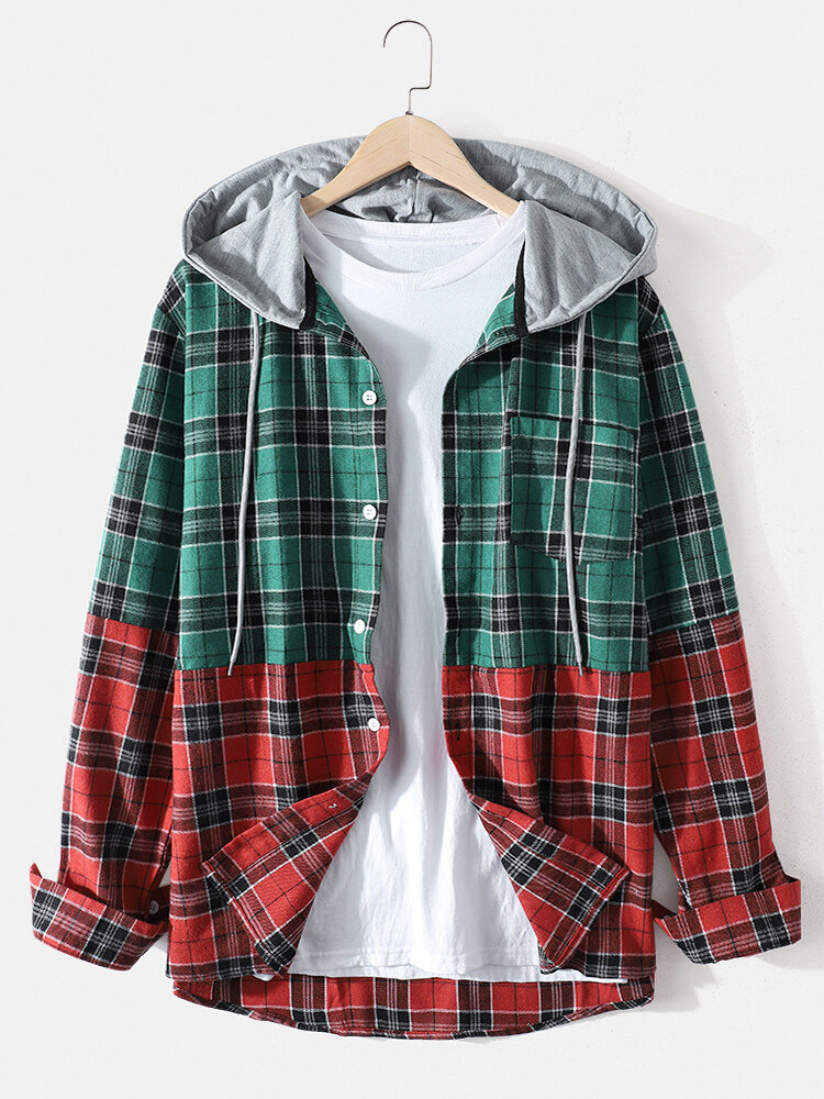 Mens Plaid Patchwork Cotton Long Sleeve Casual Drawstring Hooded Shirts