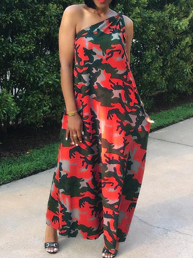 Ericdress Floor-Length Sleeveless Print Pullover High Waist Dress