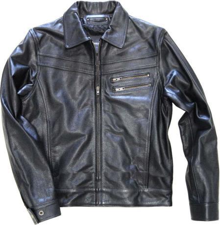 Genuine Leather  Slim Fit Black Distressed  tanners avenue jacket