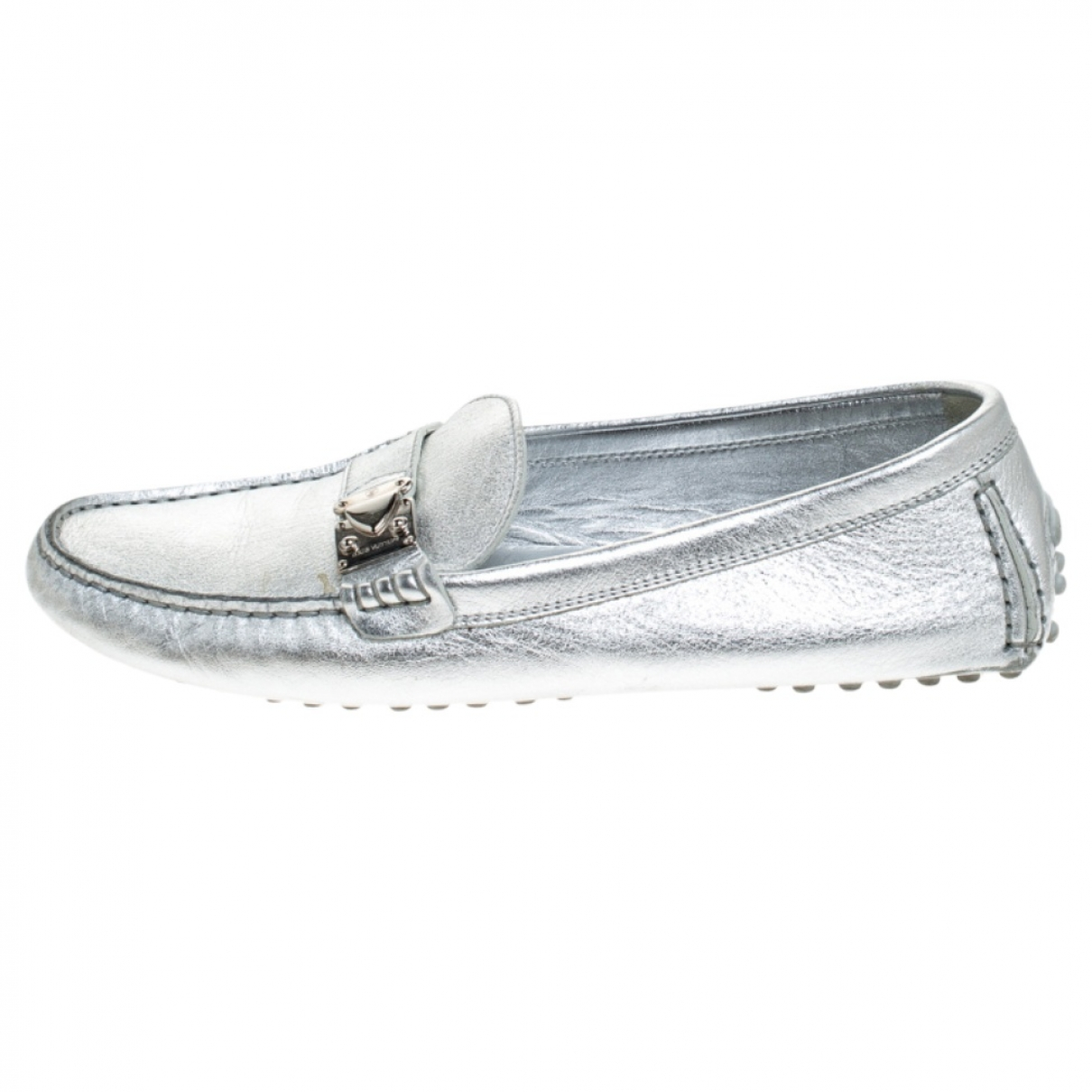 Louis Vuitton Upper Case Silver Leather Flats for Women 37 EU