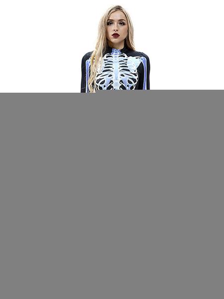 Milanoo Halloween Costumes Skeleton Scary Costume Zentai Jumpsuit Cosplay Costume Halloween
