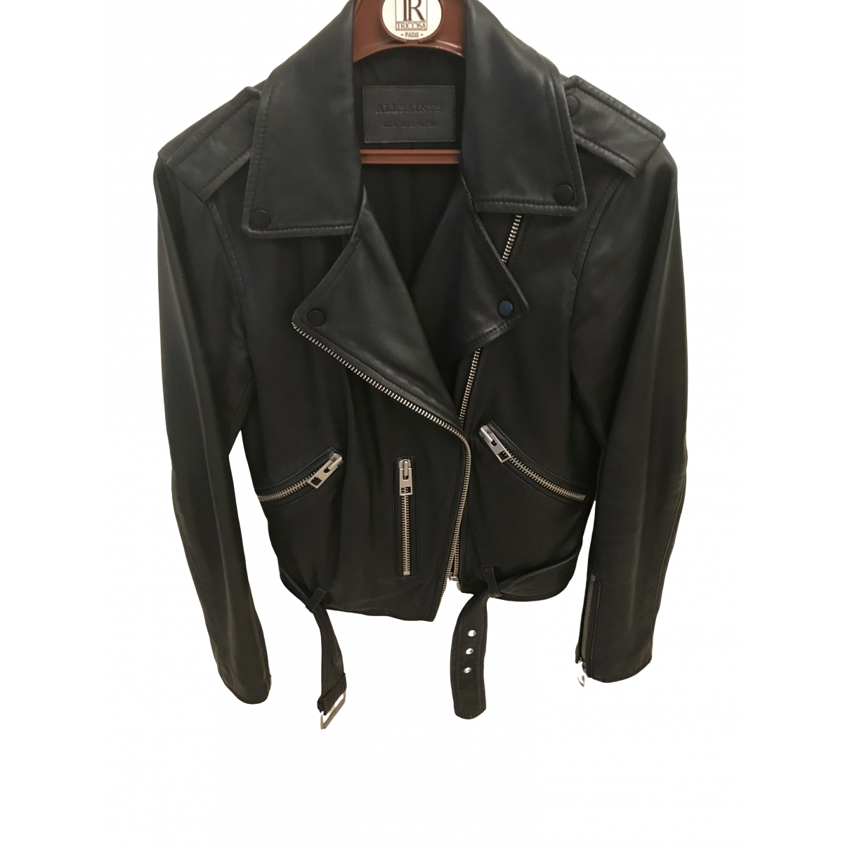 All Saints \N Black Leather Leather jacket for Women 6 UK