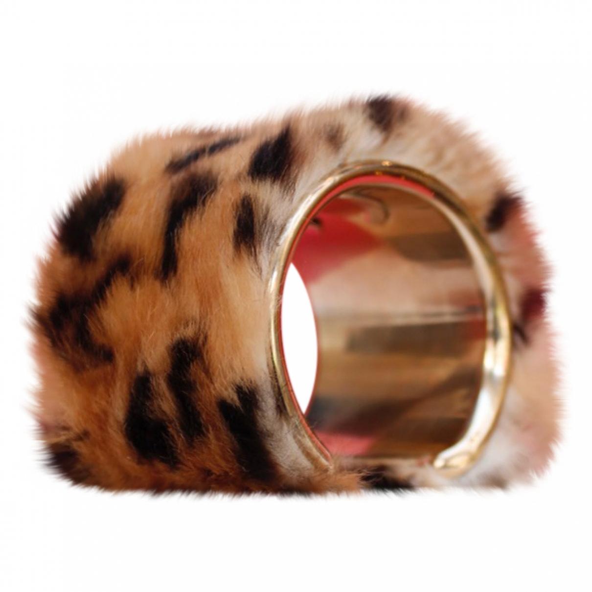 Chanel - Bracelet CC pour femme en lapin - marron