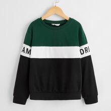 Girls Letter Graphic Color Block Drop Shoulder Sweatshirt
