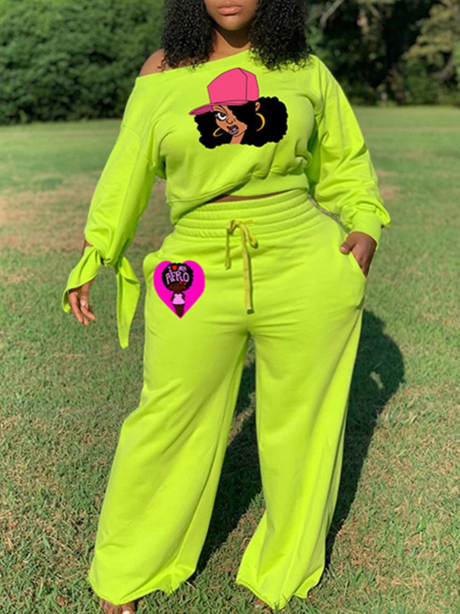 LW lovely Leisure Print Green Plus Size Two-piece Pants Set