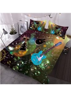 Blue and Black Guitars with Bubble 3D Printed 3-Piece Comforter Sets
