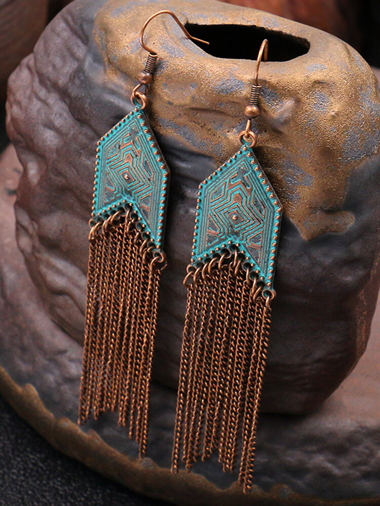 Bohemia Geometric Long Women Earrings Vintage Tassel Pendant Earrings