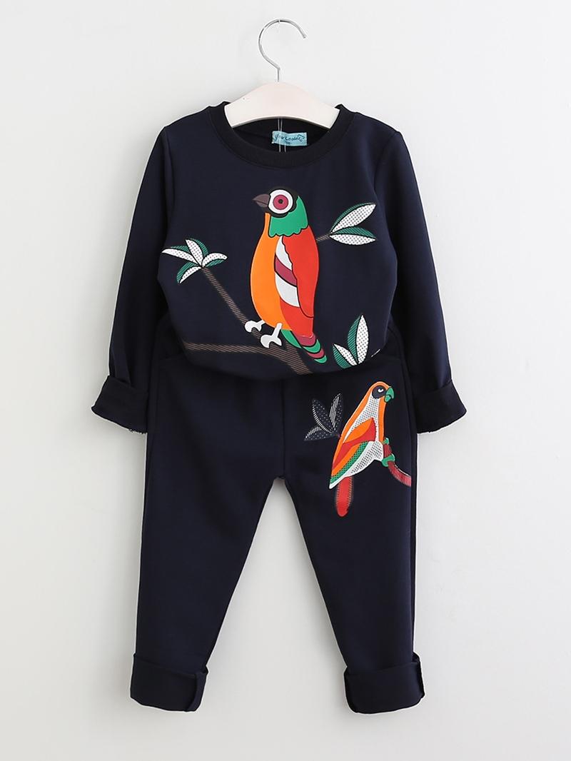 Ericdress Bird Printed Long Sleeve And Pant Girls Set