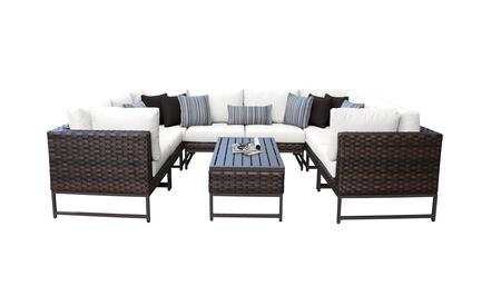 Barcelona BARCELONA-09c-BRN-WHITE 9-Piece Patio Set 9c with with 4 Corner Chairs  4 Armless Chairs and 1 Coffee Table - Beige and Sail White Covers