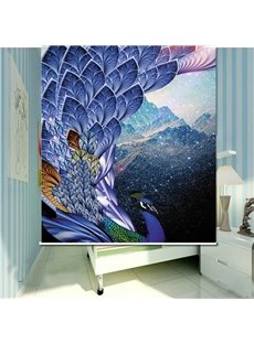 Gorgeous Purple Peacock 3D Printed Roller Shades