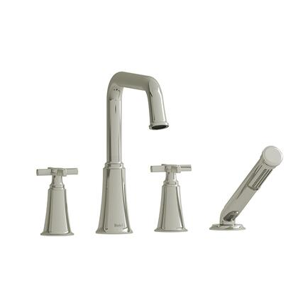 Momenti MMSQ12+PN 4-Piece Deck Mount Tub Filler with Cross Handles and Hand Shower  in Polished