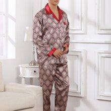 Men Tribal Print Satin Pajama Set