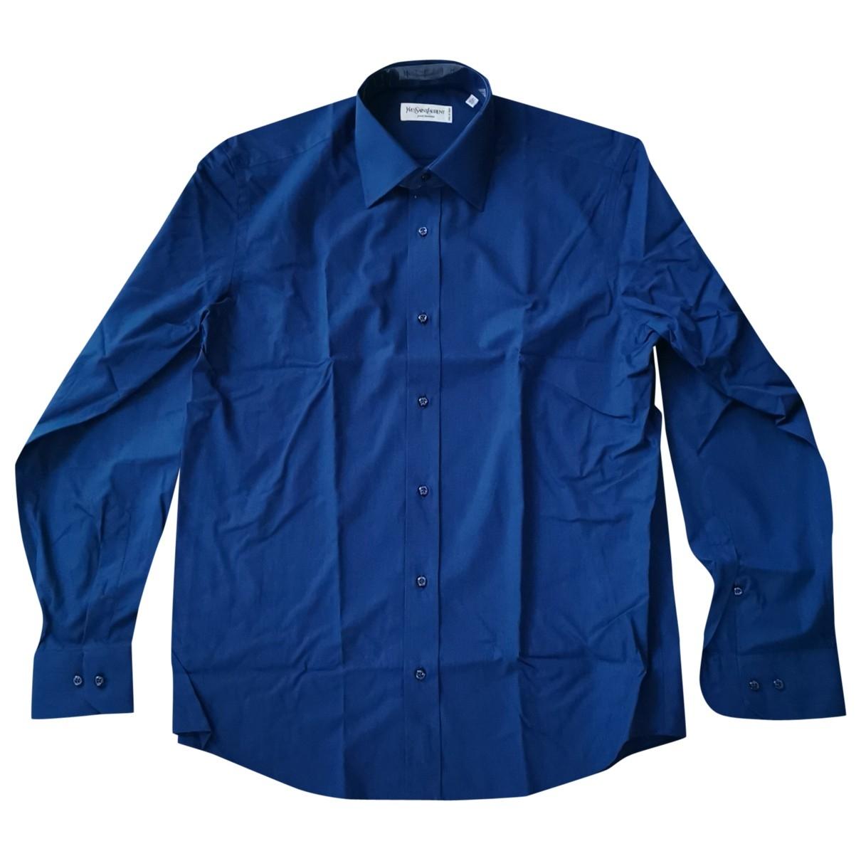 Yves Saint Laurent \N Navy Cotton Shirts for Men 42 EU (tour de cou / collar)