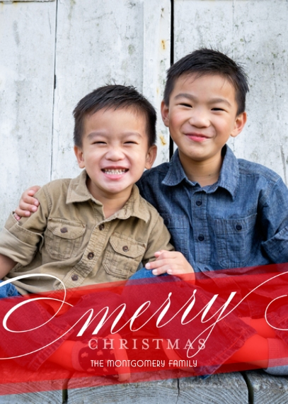 Christmas Photo Cards 5x7 Cards, Premium Cardstock 120lb with Elegant Corners, Card & Stationery -Script Holiday by Posh Paper