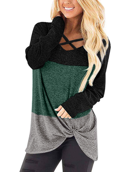 Yoins Color Block Patchwork Twist V-neck Long Sleeves Tee
