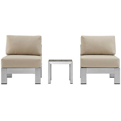 Shore Collection EEI-2598-SLV-BEI 3 PC Outdoor Patio Sectional Sofa Set with Anodized Aluminum Frame  Non-Marking Foot Caps and All-Weather Canvas
