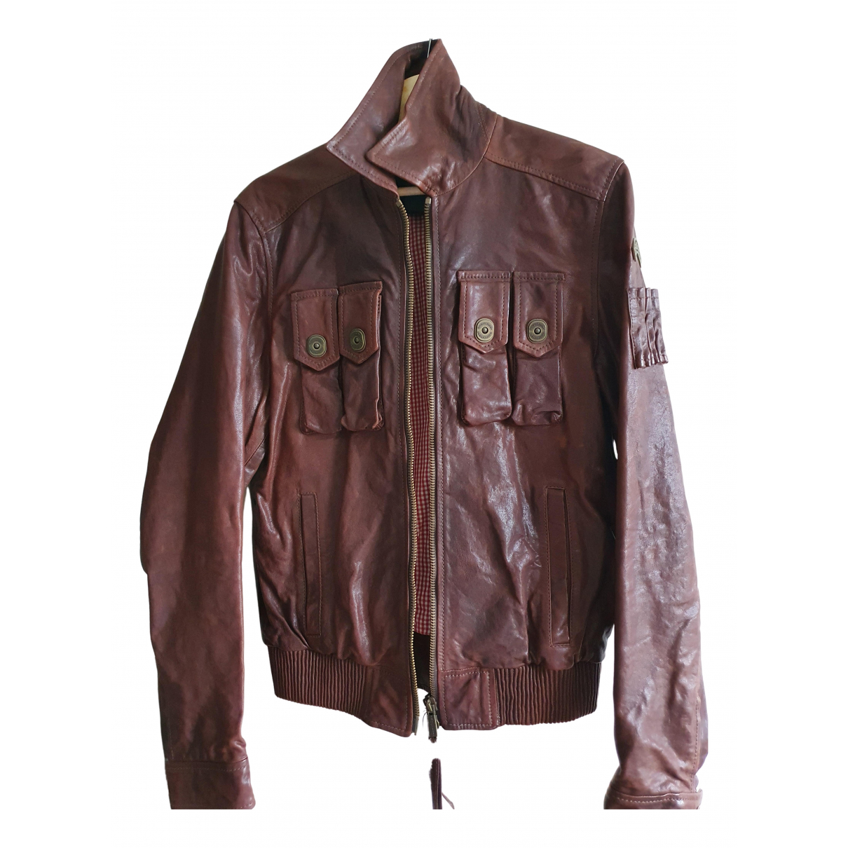 Dsquared2 N Brown Leather jacket  for Men 46 IT
