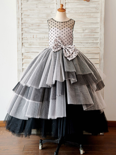 Milanoo Black Polka Dots Tulle Corset Back Ball Gown Cupcake Wedding Flower Girl Dress