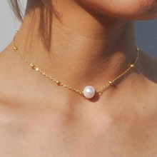 Collar de cadena con diseño de cuentas y perlas artificiales 1 pieza