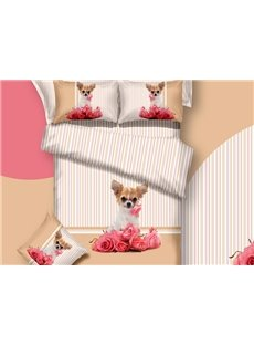 3D Puppy Dog and Pink Roses Printed Cotton 4-Piece Bedding Sets/Duvet Covers