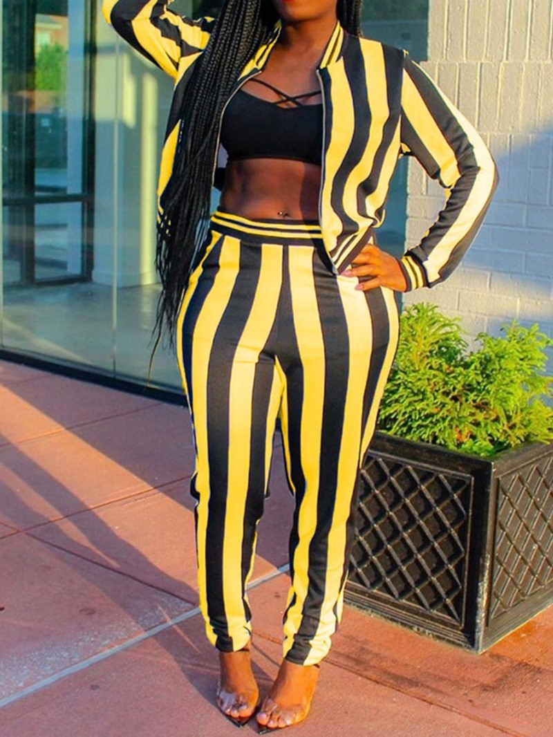 Ericdress Color Block Stripe Two Piece Sets
