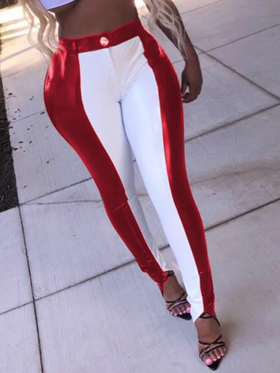 LW Lovely Street Patchwork Wine Red Pants