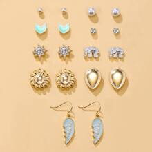 9pairs Faux Pearl & Rhinestone Decor Earrings
